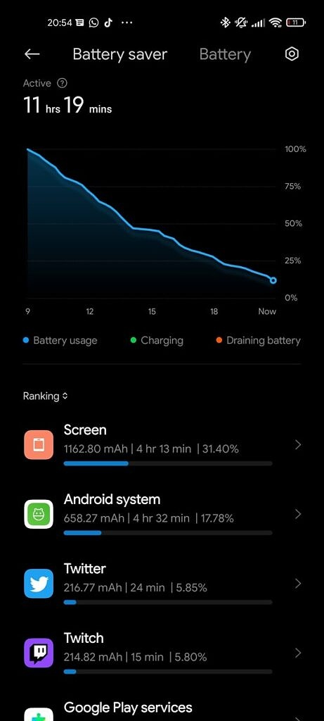 Xiaomi Mi 11 Ultra battery stats with screen on time and app usage