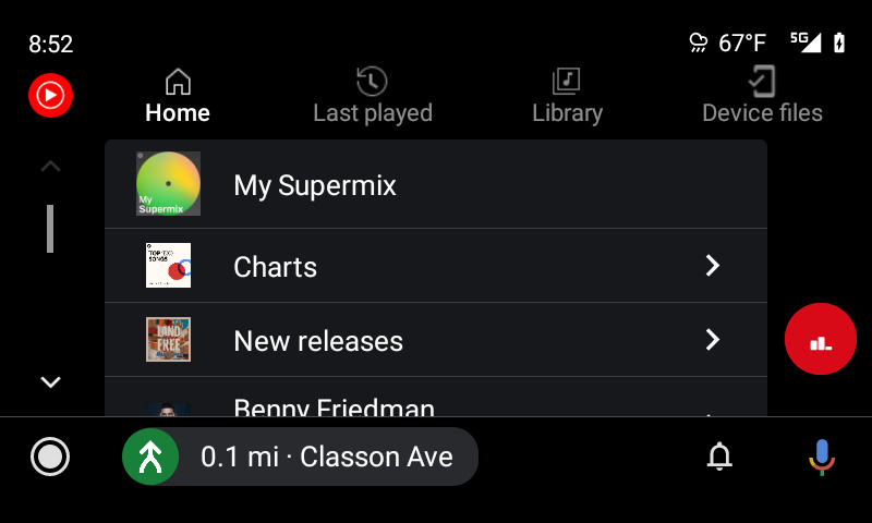 New YouTube Music interface on Android Auto with tabs