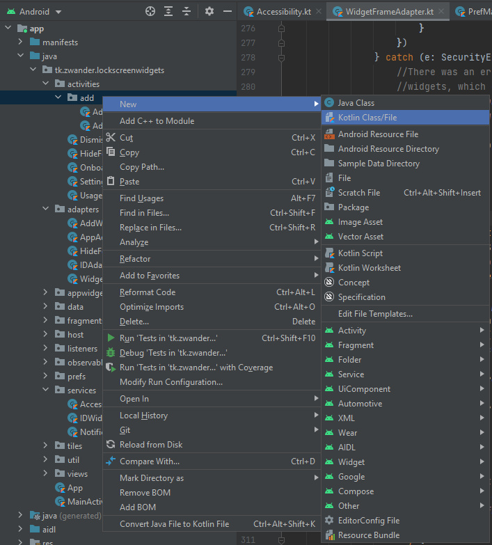 Image showing how to add a new Kotlin file/class in Android Studio