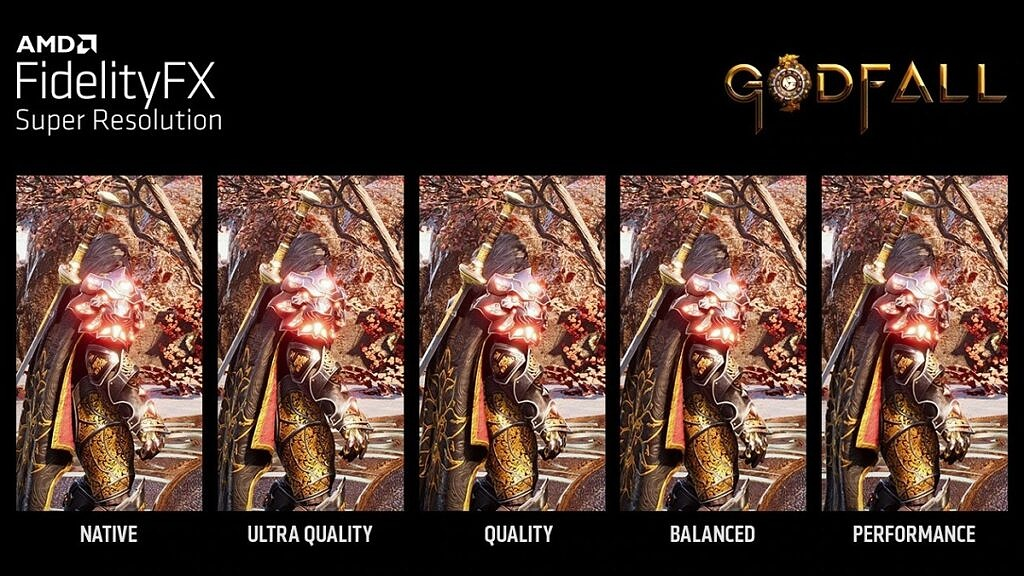 Image quality comparison of Godfall running with different levels of AMD Super Resolution