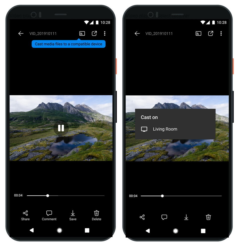 OneDrive app showing Chromecast support