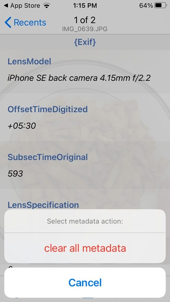Photo and Video Metadata Remover action