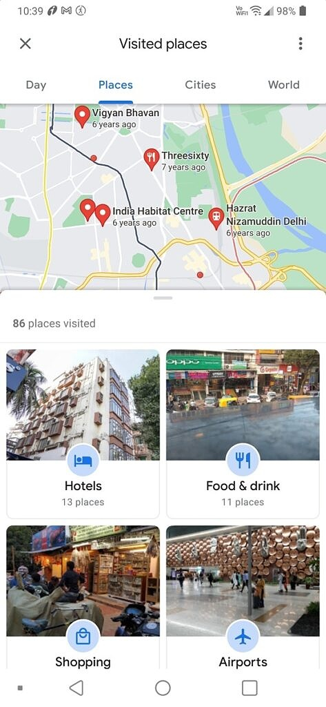 Places tab in Google Maps Timeline