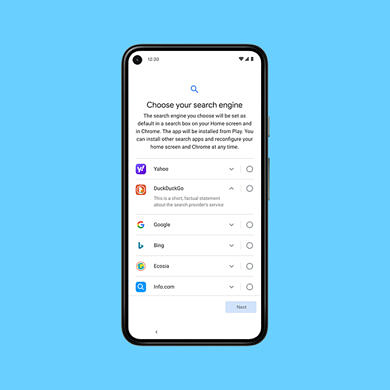 Google is expanding Android's search engine choice screen in Europe