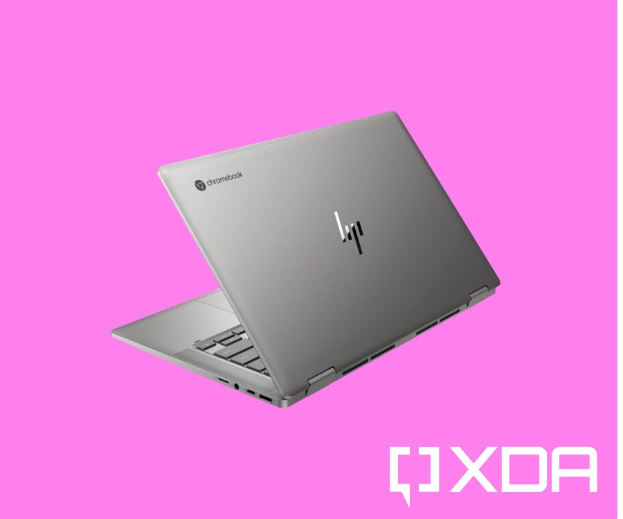 HP x360 14c on pink background