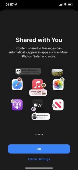 iMessage Sharing Options in iOS 15