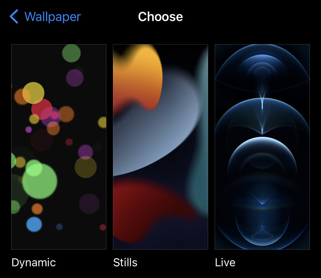 Change Wallpapers to Dynamic, Stills, and Live