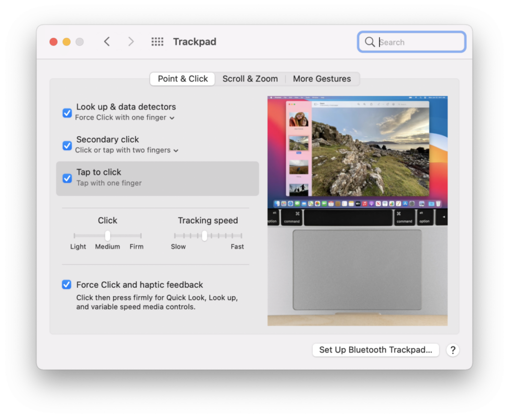 macOS trackpad preferences point and click gestures
