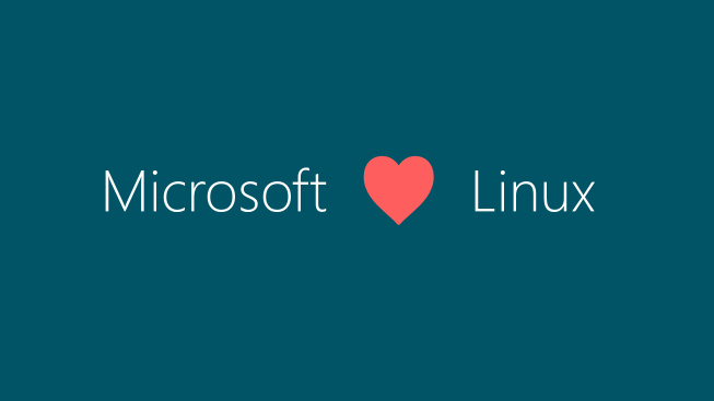 Microsoft and Linux text with heart in the middle