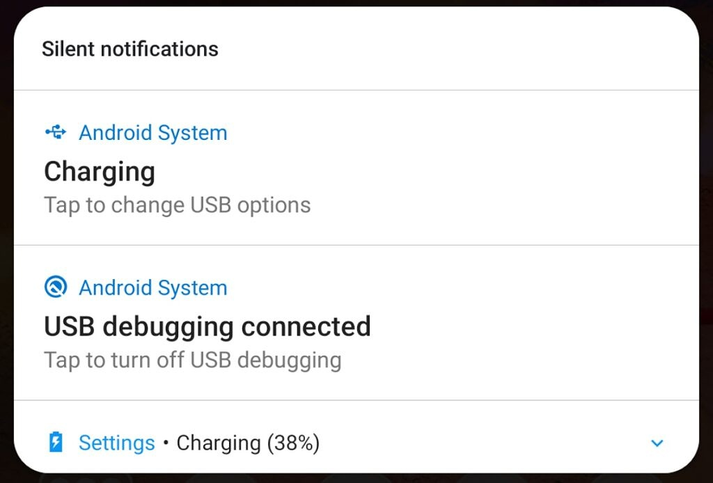 Charging notification in Notifications Shade