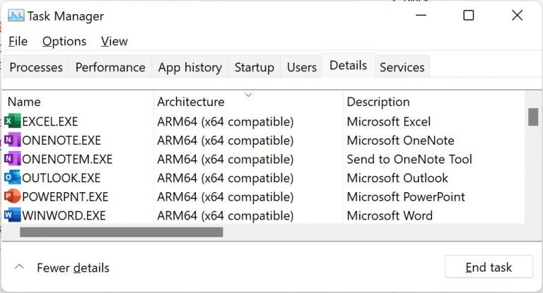 Task manager showing Office apps running in ARM64 Emulation Compatible mode
