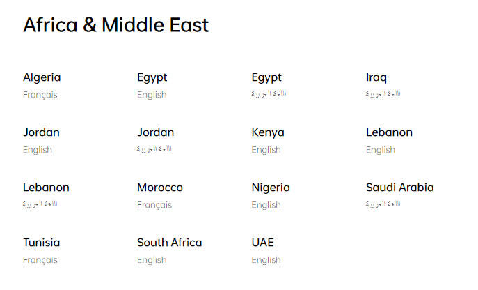 Countries OPPO sells to in Africa and the Middle East.