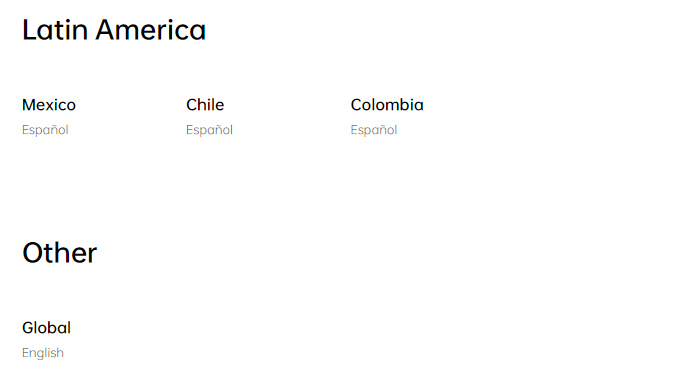 Countries OPPO officially sells to in Latin America, along with the Global option.