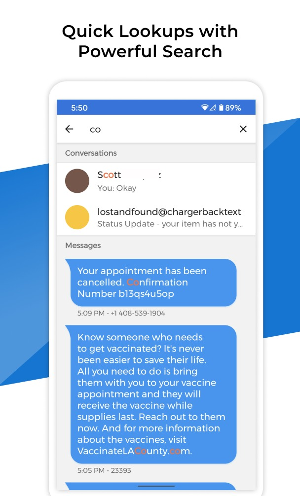 Pulse SMS powerful search