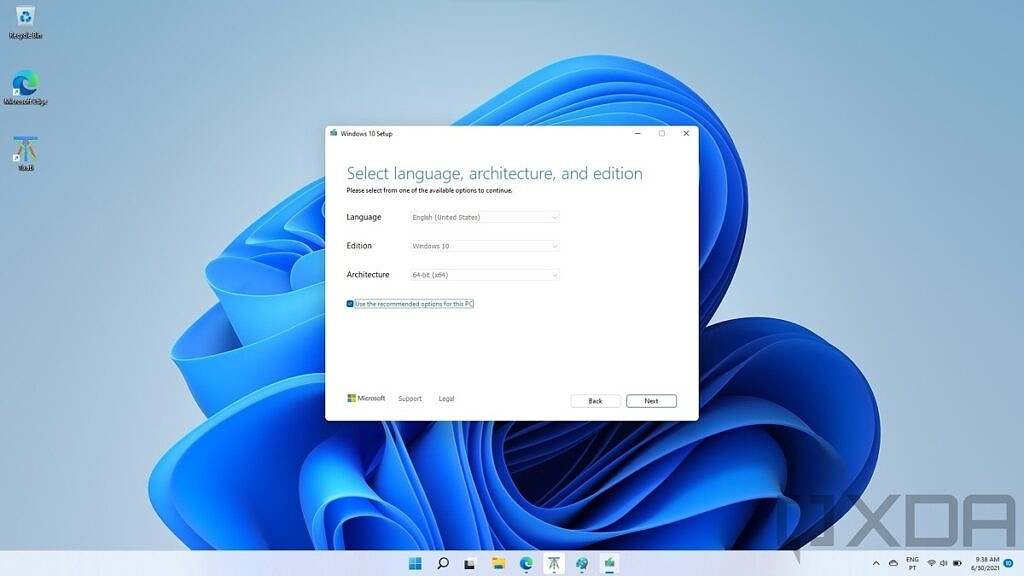 Selecting language and architecture settings for installing Windows 10
