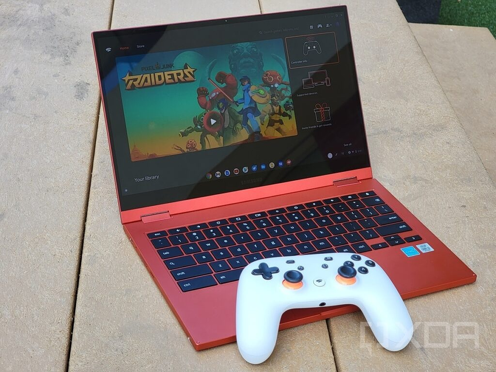 Galaxy Chromebook 2 with stadia on