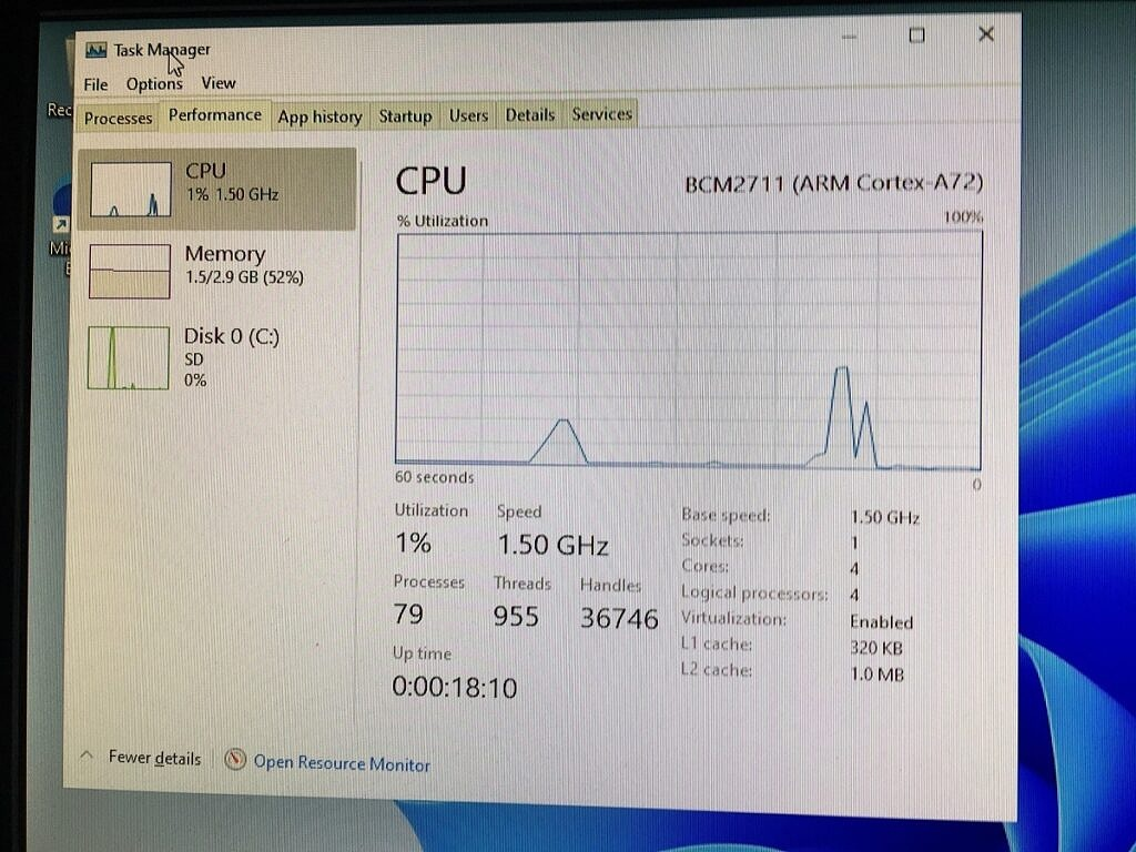 Task Manager in Windows 11 running on the Raspberry Pi 4