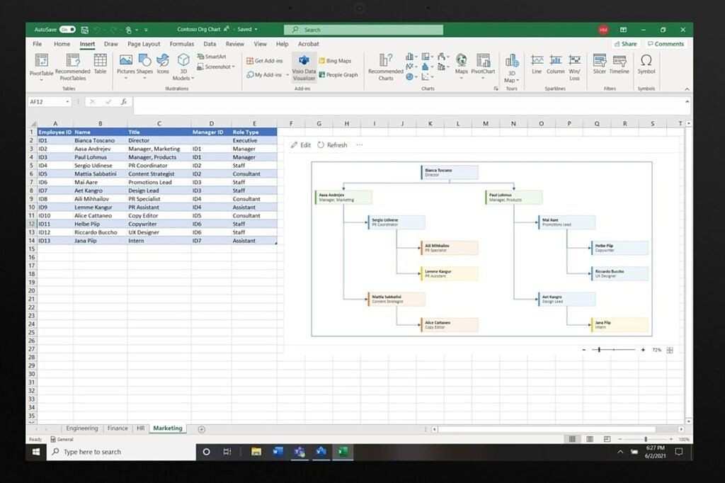A Visio diagram generated on an Excel spreadsheet