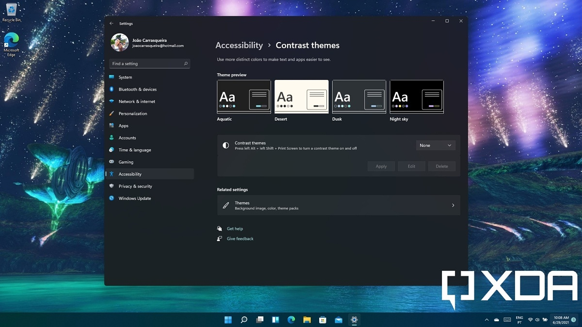 Contrast themes in Windows 11
