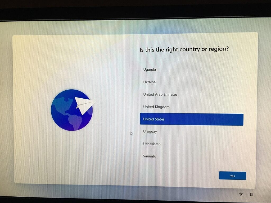 Language selection in the Windows 11 OOBE running on the Raspberry Pi 4