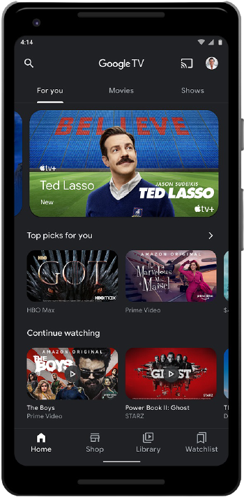 For you tab in the Google TV app