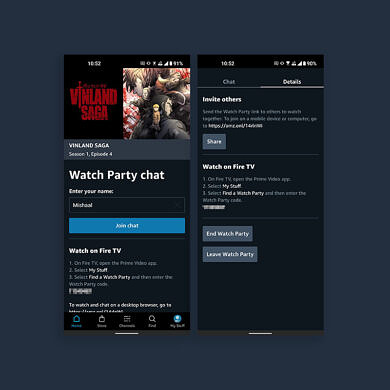 Amazon Prime Video rolls out full Watch Party support on Fire TV, chat-only support on mobile