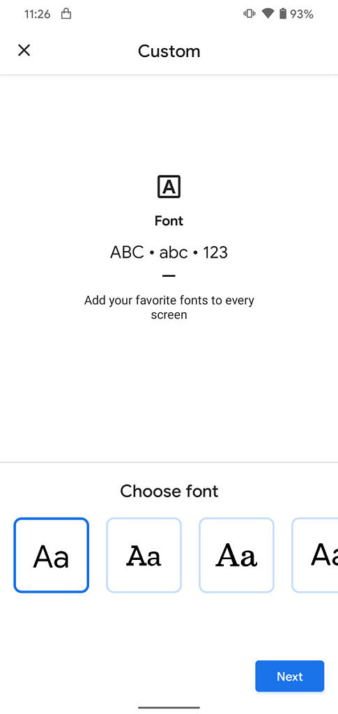 Android 11 custom font