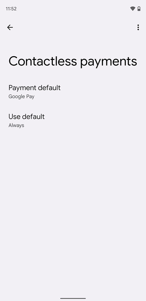 Android 12 Contactless payment settings on owner profile
