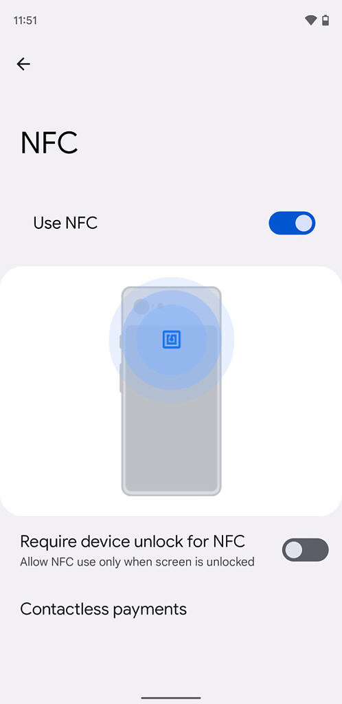 Android 12 NFC Settings on owner profile