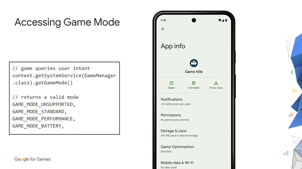 Android 12 accessing game mode