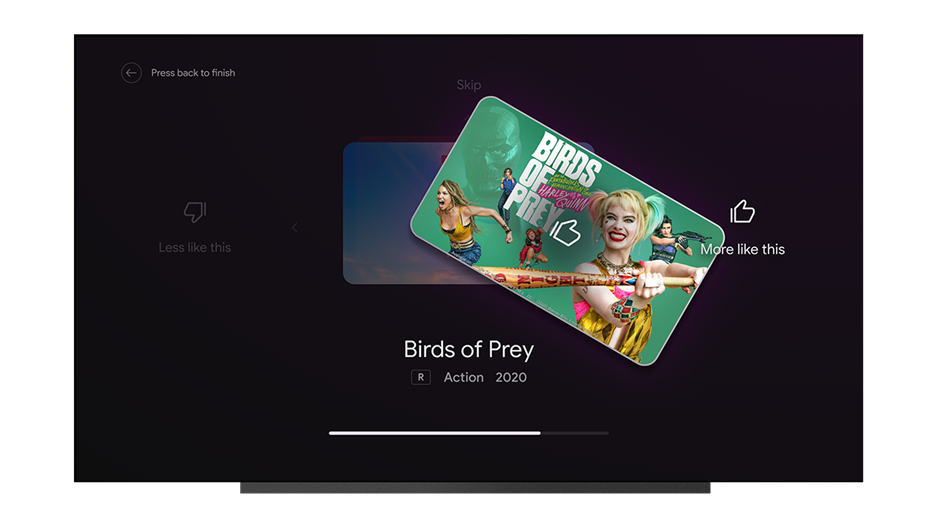 Android TV tune your recommendations page