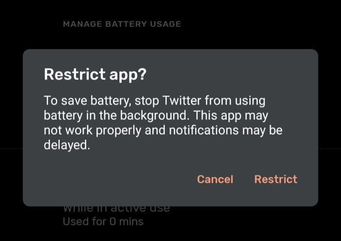Restrict background use to improve battery life