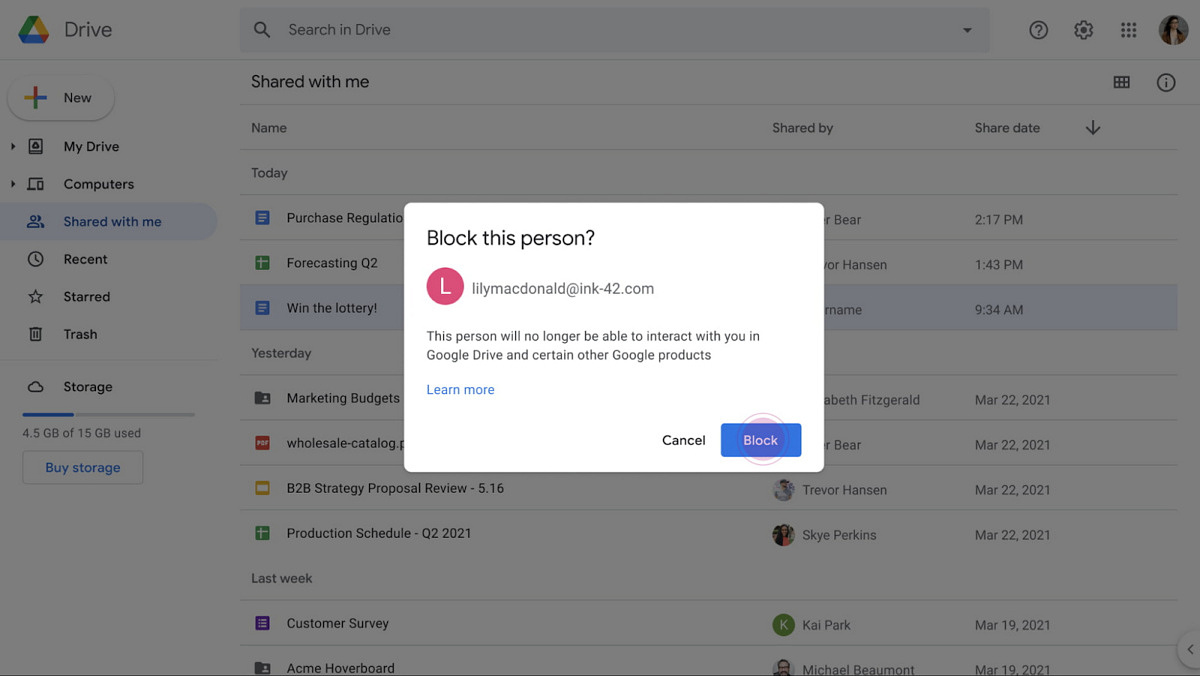 You can now block spammers that share files with you on Google Drive