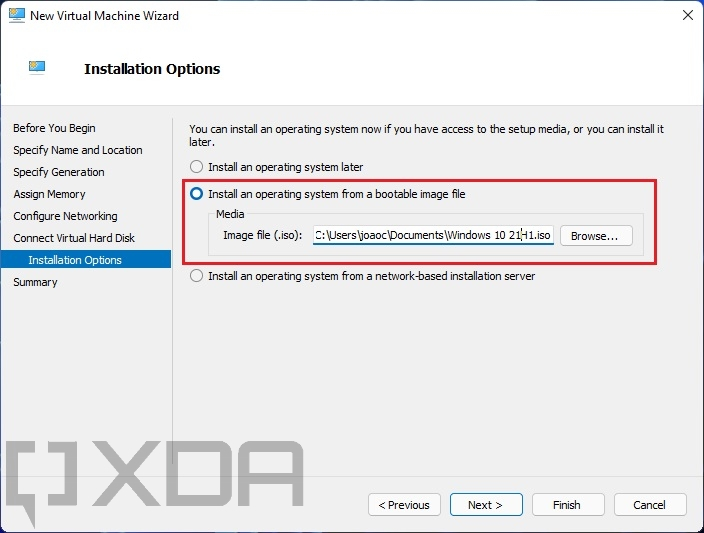 Choosing a bootable ISO file for the Windows VM