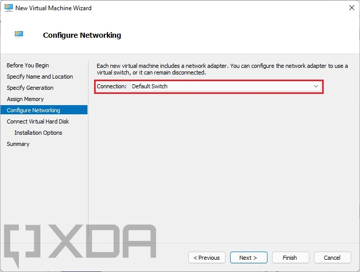 Configuring a networking switch for a Windows 11 VM