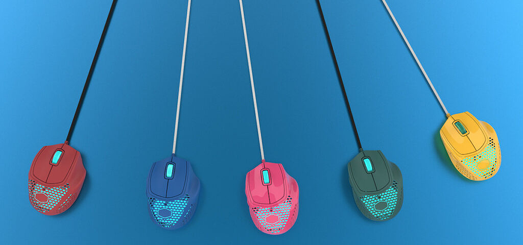 Cooler Master MM720 gaming mice shown in five colors
