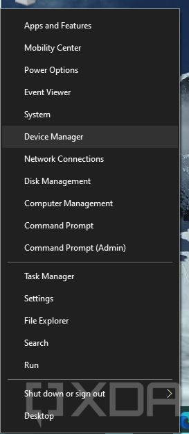 Device Manager from Start button right click menu