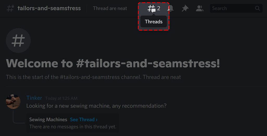 Discord thread discovery