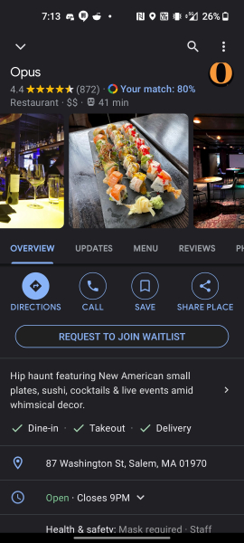 Request to join waitlist button shown under a restaurant listing in Maps