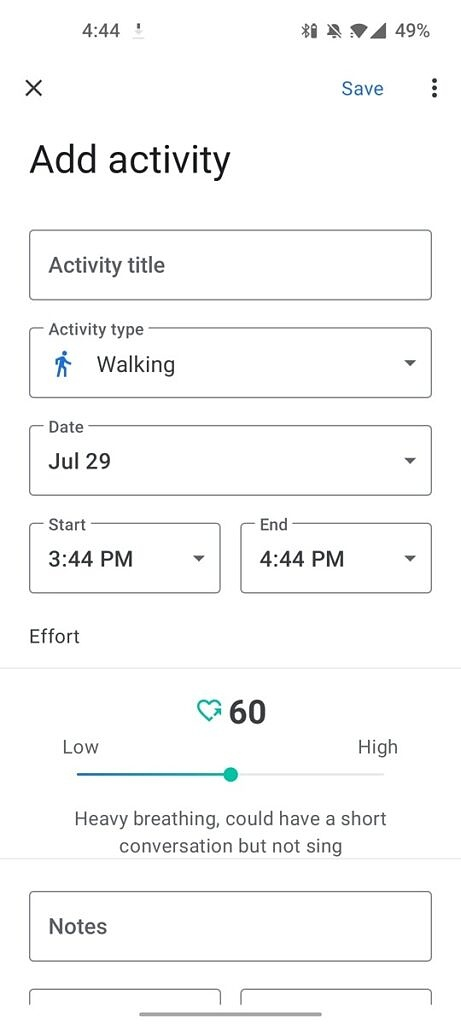 Adding an activity in Google Fit 2.60