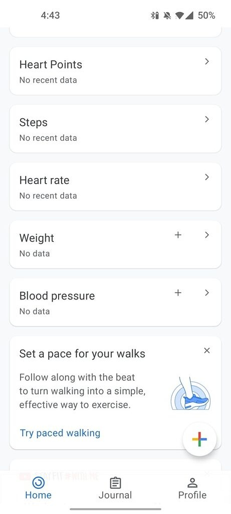 Google Fit 2.60 home screen