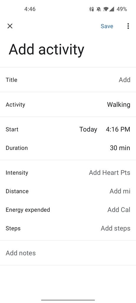 Adding an activity in Google Fit 2.61.14