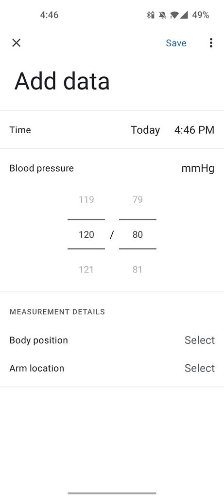 Adding your blood pressure in Google Fit 2.61.14