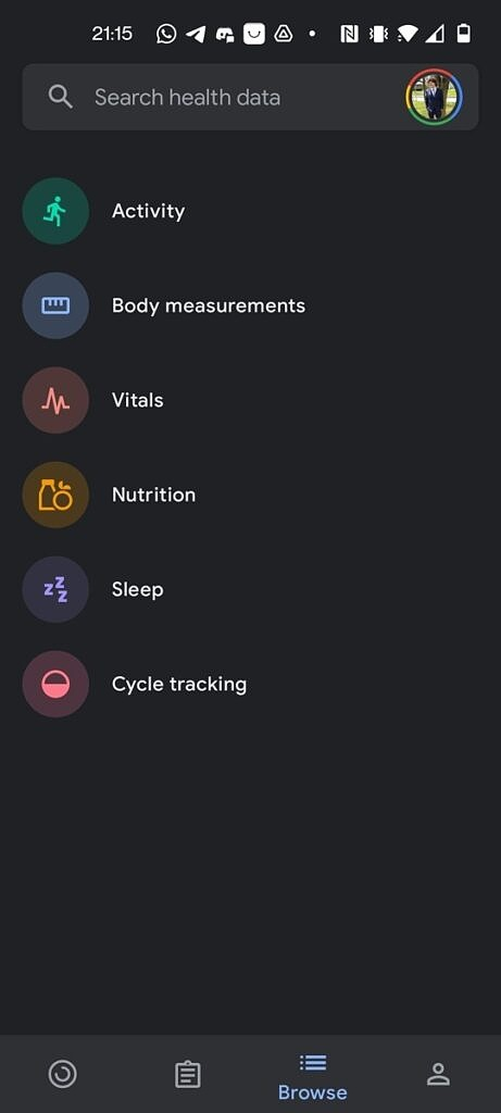 Google Fit browse tab