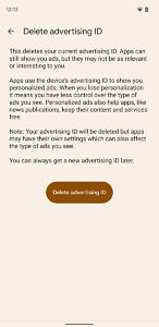 Delete advertising ID in Google Play Services