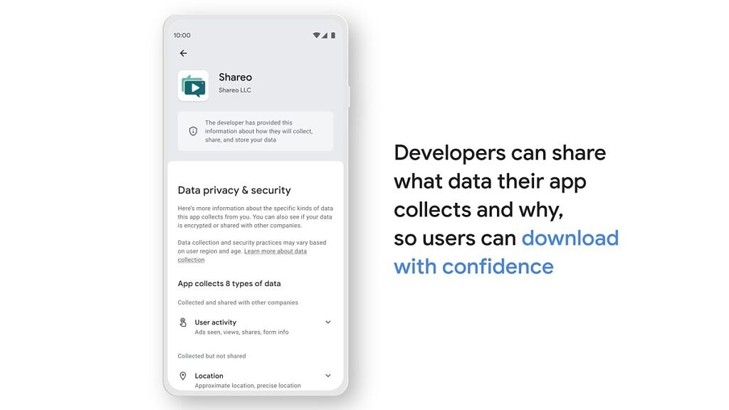 Google Play Store safety section app safety summary