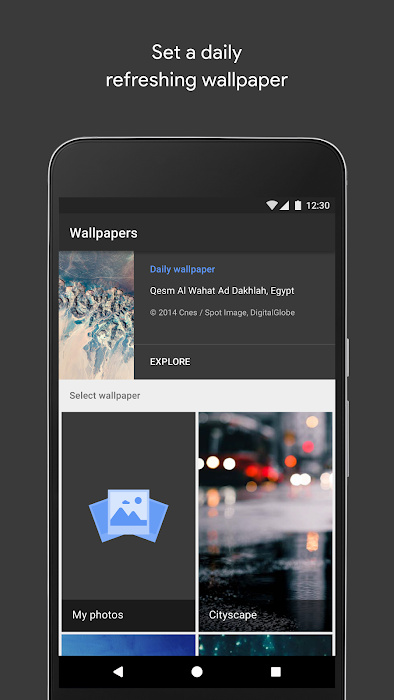 Google Wallpapers Selection Screen
