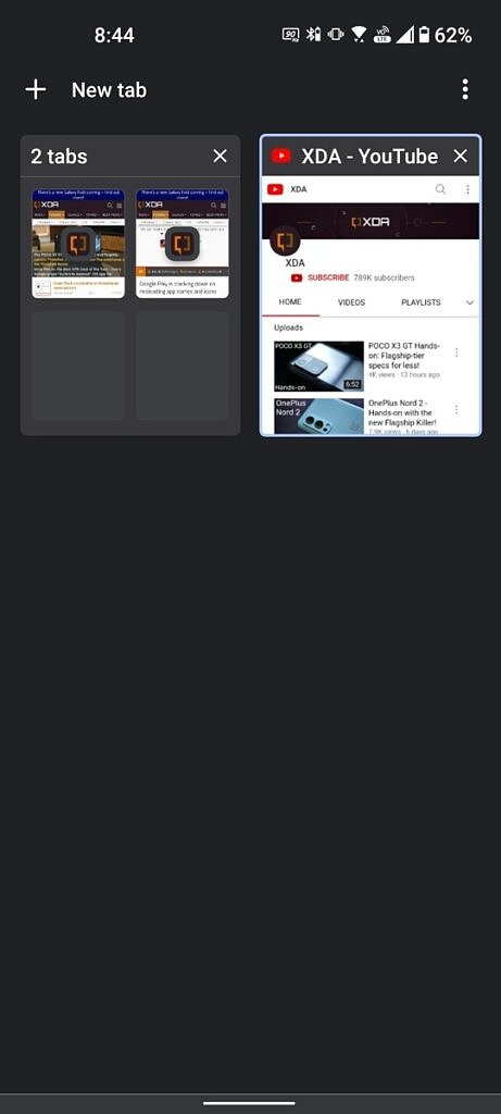 Kiwi Browser Horizontal (supports tab group) tab switcher