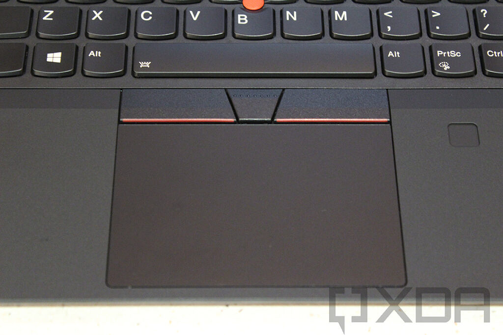 Top down view of Lenovo ThinkPad T14 Gen 2 touchpad