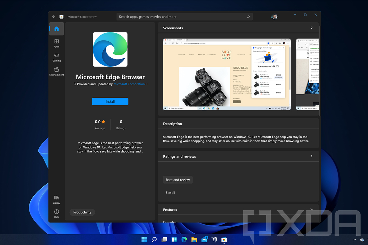 Microsoft Edge Browser shows up in the Store on Windows 11